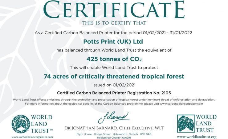 Potts Print certified by World Land Trust